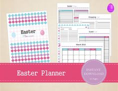Printable Easter Planner Kit with 12 pages - Editable Easter Organizer – Easter Planning Kit - INSTA Chore List, About Easter, Easter Holidays, Recipe Cards, Printables, Organization, Kit, Printable Stickers, Planners