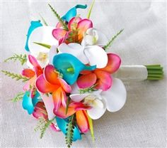 Natural Touch Teal Turquoise and Coral Orchids, Plumerias & Calla Lilies Garden Bouquet