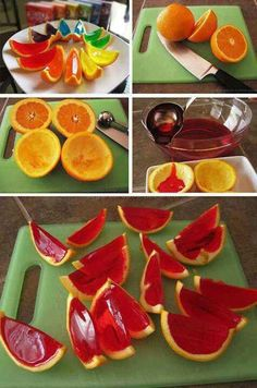Cut in 1/2 an orange. Take out all the pulp. Fill with Jello and put in fridge to set. Then slice the orange to obtain the above look try different flavors