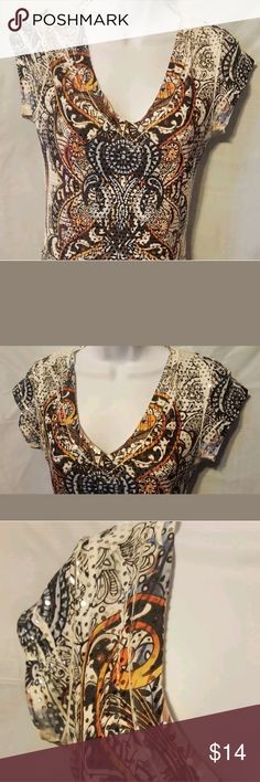 "Embellished Women's Top. This is a tee with raised silver embellishments through out. Measurements - shoulder to shoulder "", Bust "",  length "" Body Central Tops Blouses"