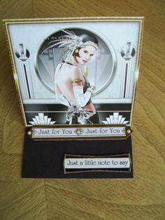 Easel card , art deco style in monochrome grey and black .... little note just to say....