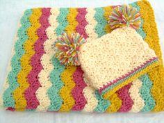 Baby Girl Gift Set, Crochet Baby Blanket and Hat Gift Set, pink, cream, light sage, and yellow