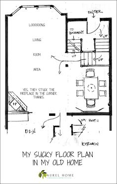 Awkward floor plan of our living dinging area. I lived here for 22 years!