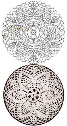 Crochet Circle Pattern, Free Crochet Doily Patterns, Crochet Doily Diagram, Crochet Motifs, Crochet Circles, Crochet Squares, Thread Crochet, Diy Crochet, Vintage Crochet