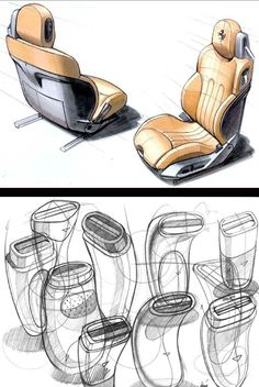 Design sketches of a car seat and electric razor