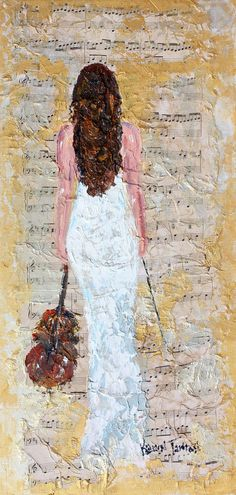 Original oil painting Violin Inspiration abstract by Karensfineart