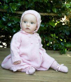 100% cashmere sunshine coat, bonnet & booties #luxurybabygift