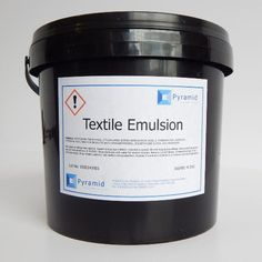 Pyramid Textile Dual Cure Emulsion. Pyramid Textile Emulsion is the cream of the crop when it comes to textile screen emulsions. This textile emulsion is the very best when it comes to high quality, high durable water resistant textile emulsions that are used by screen printers of plastisol, water based and discharge inks to print onto garments, jute bags, wallpapers and fine arts. This emulsion coats excellently, reclaims well & gives a fantastic screen stencil.