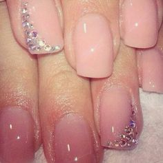 Simple nude sparkly nails