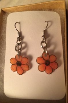 Red and Black Flower Earrings by inthespicerack on Etsy