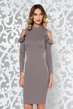 StarShinerS darkgrey pencil daily dress both shoulders cut out slightly elastic fabric midi, Ruffled sleeves, both shoulders cut out, tented cut