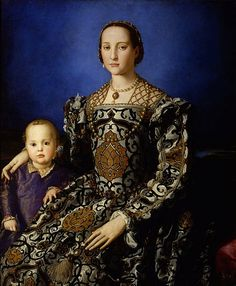 Eleanora of Toledo, wife of Cosimo de' Medici, wears a dress of a boldly patterned silk with matching sleeves. She wears a gold lattice-work partlet studded with pearls and a matching snood or caul. The blackwork embroidery at the edges of her square-necked chemise can be seen beneath the parlet, c. 1545.