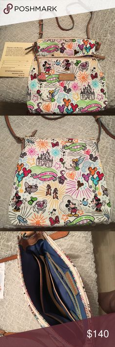 LIKE NEW Disney Dooney and Bourke sketch bag This is a one time used Disney Dooney and bourke perfect placement nylon sketch bag. Comes from a smoke and pet free home. Still has the care card to send in for the one year warranty! Used it for like two days on a Disney world trip and when I got home I stored it in a dust bag and never used again. Asking $140 that's $50 cheaper than online with shipping and tax plus you get to chose your print since each one is uniquely printed. Dooney & Bourke…