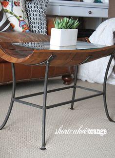 wine barrel coffee table #Shortcake & Orange: Living Room Wine Barrel Coffee Table, Barrel Table, Barrel Chair, House Furniture Design, Iron Furniture, Home Furniture, Whiskey Barrels, Bourbon Barrel, Barris