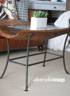 wine barrel coffee table #Shortcake & Orange: Living Room