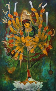 Durga by Rajeshwar Nyalapalli Watercolor Paintings Abstract, Sketch Painting, Watercolor Illustration, Painting Tips, Painting Art, Durga Painting, Indian Art Paintings, Oil Paintings, Indian Folk Art