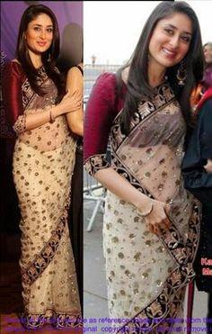Ved Deal's Bollywood Replica Kareena Kapoor Heavy Cream Designer Saree Bollywood Sarees Online on Shimply.com