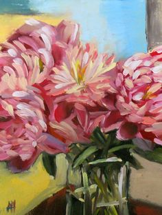Peonies no. 12 original still life oil painting on canvas by Angela Moulton 9 x 12 inches prattcreekart