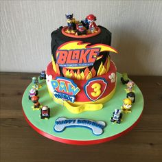 Paw patrol and blaze and the monster machines cake