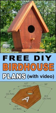 Free Easy Birdhouse Plans. Ready to improve your yard and garden with an easy DIY project to attract the most beautiful and unique birds to your backyard? Try this Homemade Nesting Box! Easy to follow directions and patterns. A great woodworking project for beginners to crafting and woodworking. This birdhouse is easy from start to finish and comes with a tutorial video for learning. Bird House Feeder, Diy Bird Feeder, Humming Bird Feeders, Homemade Bird Houses, Bird Houses Diy, Backyard Projects, Cool Diy Projects, Wood Projects, Woodworking Projects