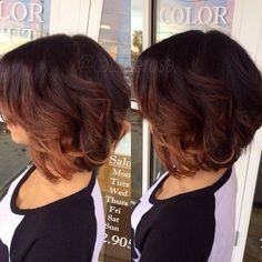 ombre on short hair the color is too dark but I like the placement of the highlights
