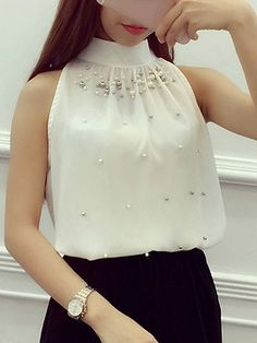 White Halter Beads Embellished Tie Back Vest Top Iranian Women Fashion, Korean Fashion, Blouse Styles, Blouse Designs, Modest Fashion, Fashion Dresses, Elegant Outfit, Trendy Dresses, Classy Outfits