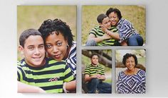 """4-Piece Canvas Wall Display, •Includes (1) 16""""x24"""" thick gallery wrap, (1) 17""""X11"""" thick gallery wrap, and (2) 8""""x12"""" thick gallery wraps- Turn Family Memories into Beautiful Wall Decor"""