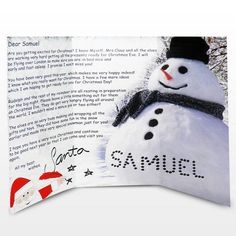 Snowman Letter From SantaKids of all ages will love this personalised Snowman letter from Santa all the way from the North Pole! The letter is from Santa himself and lets the child know about how hard the elves are working to ensure all the Chris. Christmas Letter From Santa, Christmas World, Santa Letter, Christmas Gifts For Kids, Xmas, Snowman Images, Elf Yourself, Christmas Eve Box Fillers, Personalized Gifts For Kids