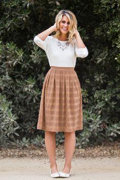 Cindy Mocha Striped Midi Skirt – Morning Lavender