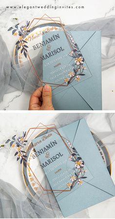 geometric flower design acrylic wedding invitation for a modern wedding #ewi #acrylic