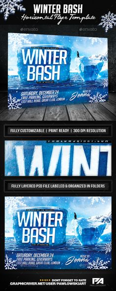 Winter Bash Horizontal Flyer Template - Holidays Events