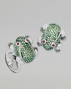 Crystal-Embellished Frog Cuff Links by Jan Leslie at Bergdorf Goodman.