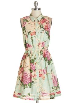 Botanical Occasion Dress. Floral prints make any event more delightful, so don this sleeveless shirt dress by Tulle Clothing and enjoy the party!  *cries* I want