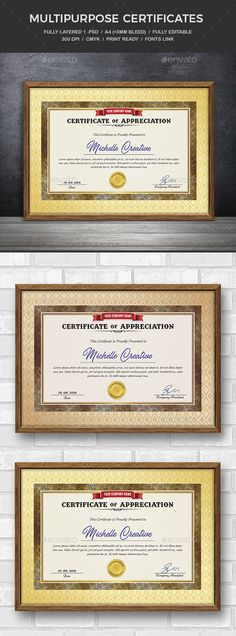 Buy Certificate Template by creativeartx on GraphicRiver.PSD Fully Editable bleed) 300 dpi CMYK Print ready Free fonts use.