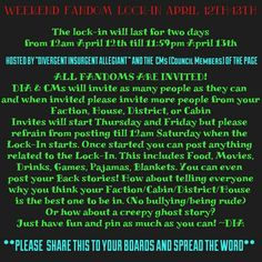 Please spread the word for WEEKEND FANDOM LOCK-IN!!! it will have its own board and I will start inviting people on Thursday (10th) with the help of my AWESOME  CMs! Please let everyone know! Share to all your Fandom boards! Once invited please help invite MORE people! Thank you so much! --DIA