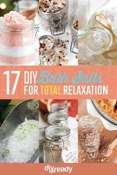 "Try out these DIY bath salts and start ""soaking in"" the total relaxation. You deserve it! These bath salt recipes are easy to make & fun to use."