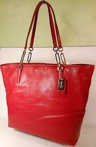 Coach LISCA 26225 Scarlet Red Tote Purse Gold hardware Snap Closure Handbag NWT