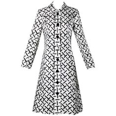Preowned I. Magnin Vintage 1960s Graphic Black + White Print Silk Mod... ($595) ❤ liked on Polyvore featuring outerwear, coats, white, patterned coat, print coat, vintage coat, leather-sleeve coats and i. magnin
