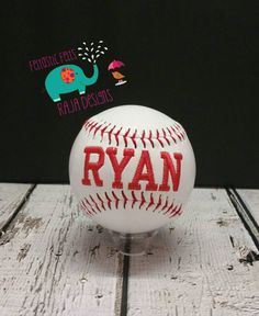 Customized embroidered baseball with stand. Coach gift, custom, sports, ball - pinned by pin4etsy.com