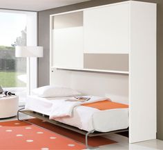 Best Collections Of 19 Horizontal Murphy Bed Designs : Contemporary Twin Mechanism Horizontal Murphy Bed with Flat Brown Bed Frame that have Soft White Mattress also Functional White Wood Cabinet