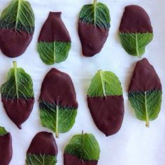 Chocolate-covered mint leaves, perfect for after dinner.
