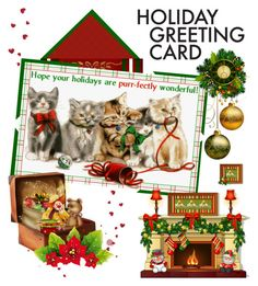 """""""Purr-fect Holidays"""" by absolut-me ❤ liked on Polyvore featuring art, holidaygreetingcard and PVStyleInsiders"""