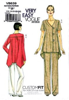Vogue Sewing Pattern 8639 Misses Size 8-14 Easy Assymetrical Button Front Top Pants  $21.99