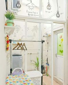 Small Home Remodel Designs Under 50 Square Meters - Di Home Design Outdoor Laundry Rooms, Tiny Laundry Rooms, Laundry Room Design, Kitchen Design, Home Design, Bath Design, Design Ideas, Room Interior, Interior Design Living Room