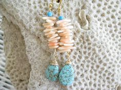 Turquoise and Coral Drop Earrings Coral by NuryMenesesJewelry, $40.00