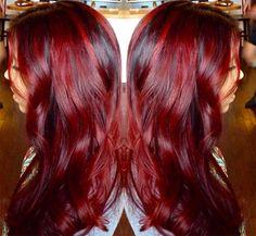 100 Badass Red Hair Colors: Auburn, Cherry, Copper, Burgundy Hair Shades - New Medium Hairstyles Auburn Hair Balayage, Hair Color Auburn, Hair Color Balayage, Ombre Hair Color, Dark Balayage, Balayage Hairstyle, Deep Burgundy Hair, Dark Red Hair, Hair Color Dark