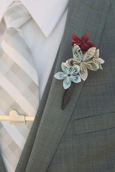 paper flower boutineer