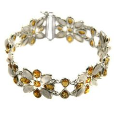 "Baltic Honey Amber with Crystals and Sterling Silver Jumping Flower Bracelet 8"" Ian and Valeri Co.. $153.00"
