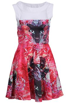 """""""Cat Face"""" Red Floral Dress. Description Red dress, featuring scoop neck, with dual-tone design, hollow styling, sleeveless, side zipper, various cat face nestled in flowers print on body, pleated hem. Fabric Cotton and Polyester. Washing 40 degree machine wash , low iron. #Romwe"""