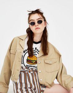 f51d12141d51 Pull Bear - γυναικεία - ενδύματα - μπλουζάκια - μπλούζα vintage burguer -  γκρι παγου - 05230308